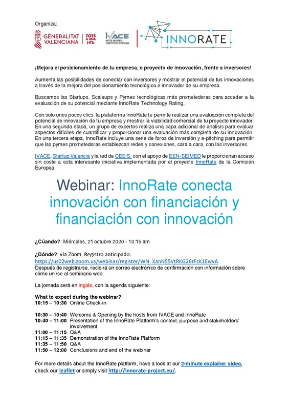 Programa Webinar InnoRate